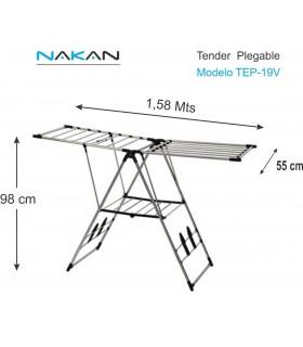 Tendedero Nakan Tep-19v Premium Acero Pleg. Con Alas 19 Varillas