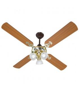 Ventilador De Techo Protalia 3110 Dorado Cedro 4 Palas 90w C/luz